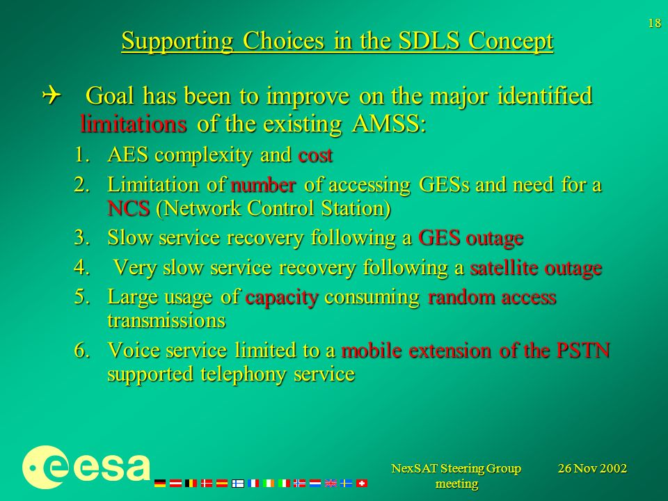 26 Nov 2002NexSAT Steering Group meeting 18 Supporting Choices in the SDLS Concept Goal has been to improve on the major identified limitations of the existing AMSS: Goal has been to improve on the major identified limitations of the existing AMSS: 1.AES complexity and cost 2.Limitation of number of accessing GESs and need for a NCS (Network Control Station) 3.Slow service recovery following a GES outage 4.