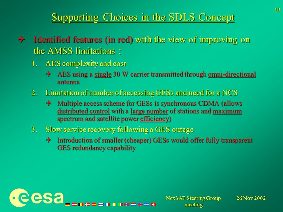 26 Nov 2002NexSAT Steering Group meeting 19 Supporting Choices in the SDLS Concept Identified features (in red) with the view of improving on the AMSS limitations : Identified features (in red) with the view of improving on the AMSS limitations : 1.AES complexity and cost AES using a single 30 W carrier transmitted through omni-directional antenna AES using a single 30 W carrier transmitted through omni-directional antenna 2.Limitation of number of accessing GESs and need for a NCS Multiple access scheme for GESs is synchronous CDMA (allows distributed control with a large number of stations and maximum spectrum and satellite power efficiency) Multiple access scheme for GESs is synchronous CDMA (allows distributed control with a large number of stations and maximum spectrum and satellite power efficiency) 3.Slow service recovery following a GES outage Introduction of smaller (cheaper) GESs would offer fully transparent GES redundancy capability Introduction of smaller (cheaper) GESs would offer fully transparent GES redundancy capability