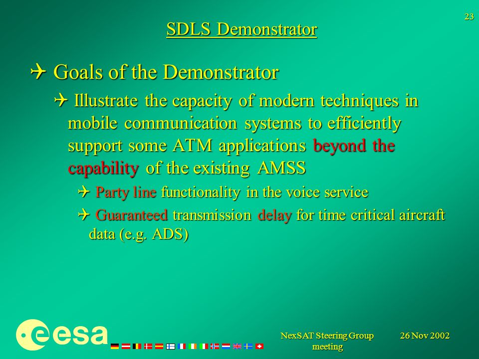 26 Nov 2002NexSAT Steering Group meeting 23 SDLS Demonstrator Goals of the Demonstrator Goals of the Demonstrator Illustrate the capacity of modern techniques in mobile communication systems to efficiently support some ATM applications beyond the capability of the existing AMSS Illustrate the capacity of modern techniques in mobile communication systems to efficiently support some ATM applications beyond the capability of the existing AMSS Party line functionality in the voice service Party line functionality in the voice service Guaranteed transmission delay for time critical aircraft data (e.g.