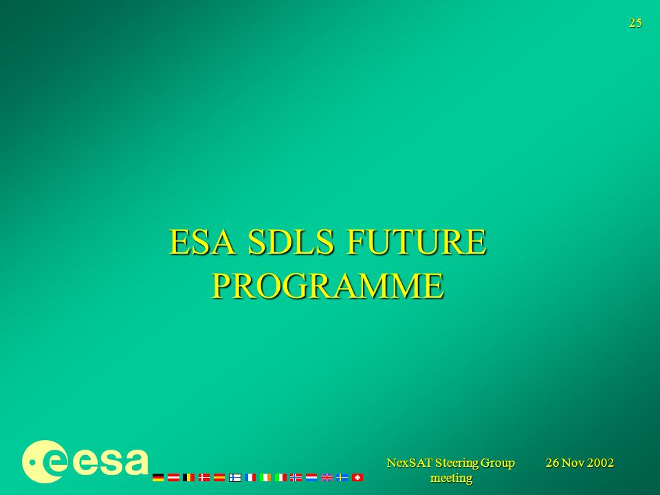 26 Nov 2002 NexSAT Steering Group meeting 25 ESA SDLS FUTURE PROGRAMME