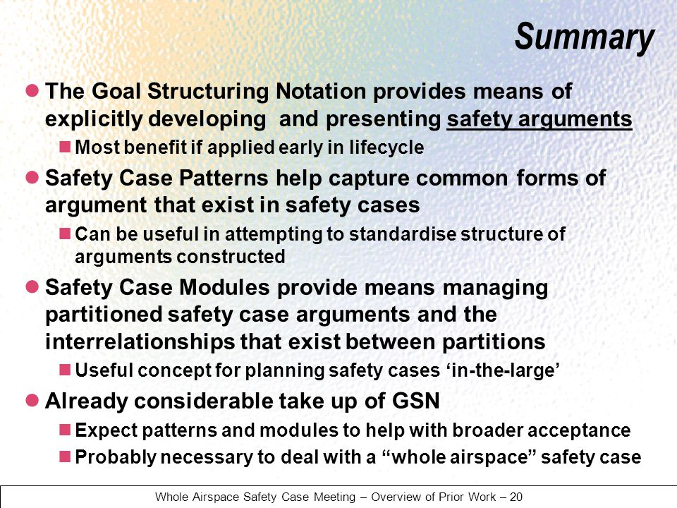 Whole Airspace Safety Case Meeting – Overview of Prior Work – 20 Summary The Goal Structuring Notation provides means of explicitly developing and presenting safety arguments Most benefit if applied early in lifecycle Safety Case Patterns help capture common forms of argument that exist in safety cases Can be useful in attempting to standardise structure of arguments constructed Safety Case Modules provide means managing partitioned safety case arguments and the interrelationships that exist between partitions Useful concept for planning safety cases in-the-large Already considerable take up of GSN Expect patterns and modules to help with broader acceptance Probably necessary to deal with a whole airspace safety case