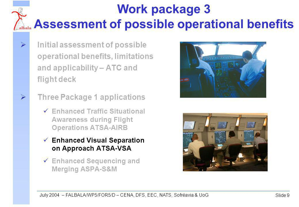 Slide 9 July 2004 – FALBALA/WP5/FOR5/D – CENA, DFS, EEC, NATS, Sofréavia & UoG Work package 3 Assessment of possible operational benefits Initial assessment of possible operational benefits, limitations and applicability – ATC and flight deck Three Package 1 applications Enhanced Traffic Situational Awareness during Flight Operations ATSA-AIRB Enhanced Visual Separation on Approach ATSA-VSA Enhanced Sequencing and Merging ASPA-S&M