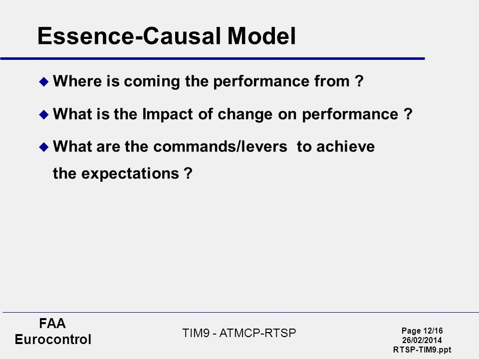 Page 12/16 26/02/2014 RTSP-TIM9.ppt FAA Eurocontrol TIM9 - ATMCP-RTSP Essence-Causal Model Where is coming the performance from .