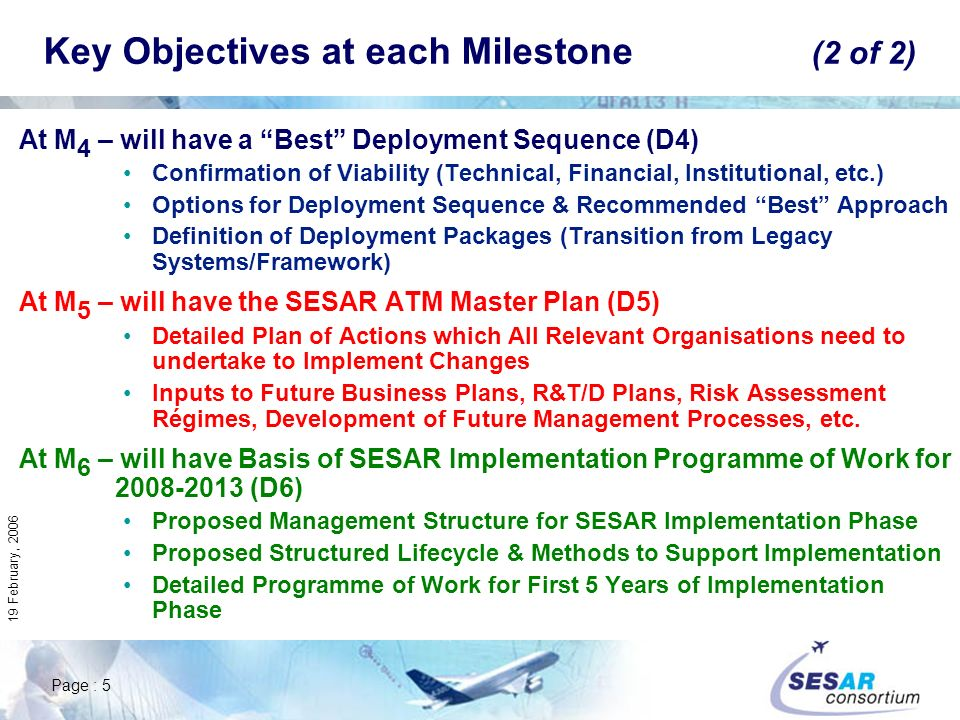 Page : 5 19 February, 2006 At M 4 – will have a Best Deployment Sequence (D4) Confirmation of Viability (Technical, Financial, Institutional, etc.) Options for Deployment Sequence & Recommended Best Approach Definition of Deployment Packages (Transition from Legacy Systems/Framework) At M 5 – will have the SESAR ATM Master Plan (D5) Detailed Plan of Actions which All Relevant Organisations need to undertake to Implement Changes Inputs to Future Business Plans, R&T/D Plans, Risk Assessment Régimes, Development of Future Management Processes, etc.