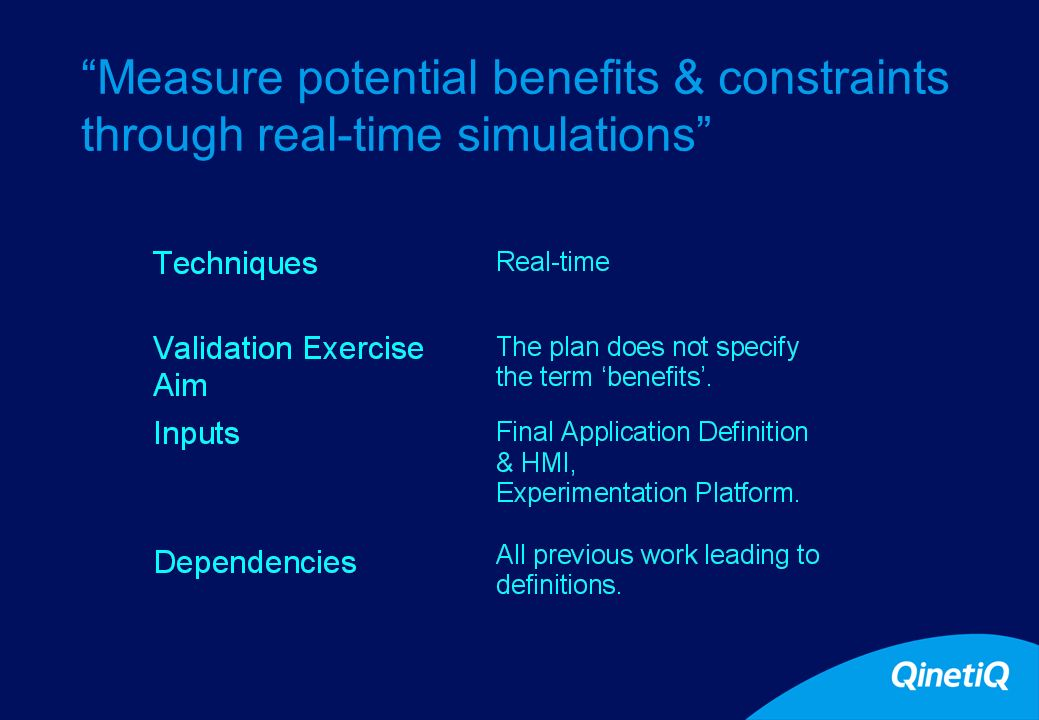 14 Measure potential benefits & constraints through real-time simulations