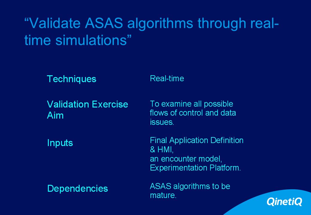 15 Validate ASAS algorithms through real- time simulations