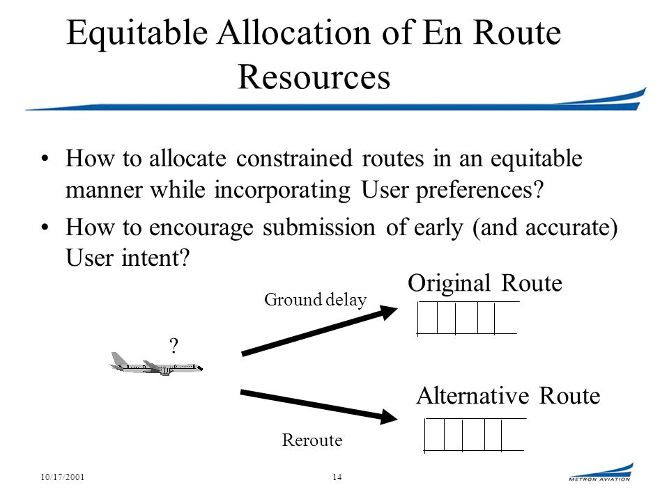 10/17/200114 Equitable Allocation of En Route Resources How to allocate constrained routes in an equitable manner while incorporating User preferences.
