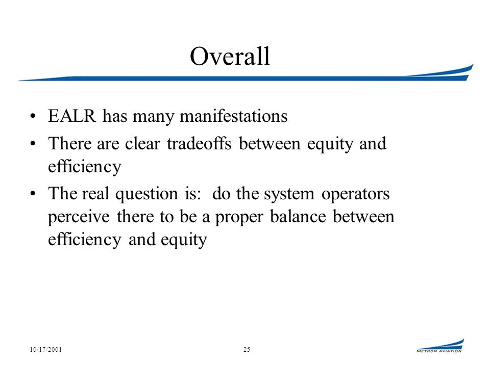 10/17/200125 Overall EALR has many manifestations There are clear tradeoffs between equity and efficiency The real question is: do the system operators perceive there to be a proper balance between efficiency and equity