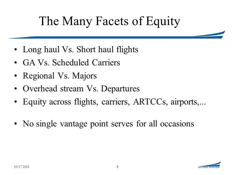 10/17/20019 The Many Facets of Equity Long haul Vs.