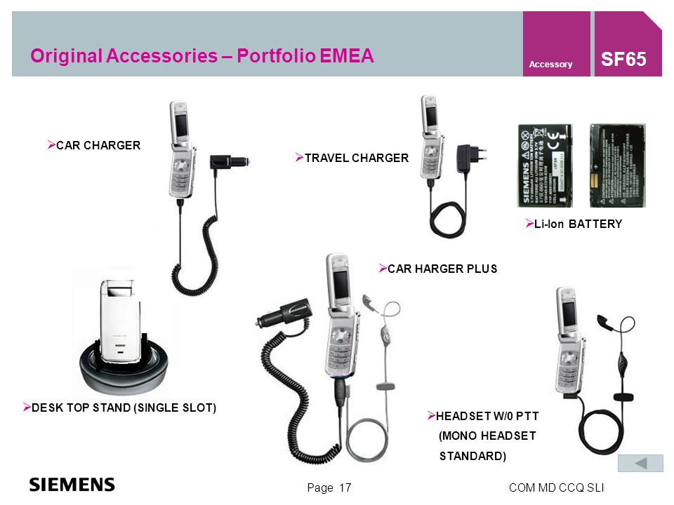 Page 17COM MD CCQ SLI Li-Ion BATTERY DESK TOP STAND (SINGLE SLOT) HEADSET W/0 PTT (MONO HEADSET STANDARD) CAR HARGER PLUS TRAVEL CHARGER CAR CHARGER Original Accessories – Portfolio EMEA Accessory SF65