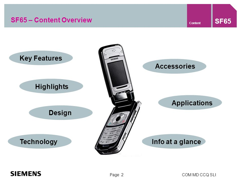 Page 2COM MD CCQ SLI SF65 – Content Overview Content SF65 Info at a glance Key Features Highlights Design Technology Accessories Applications
