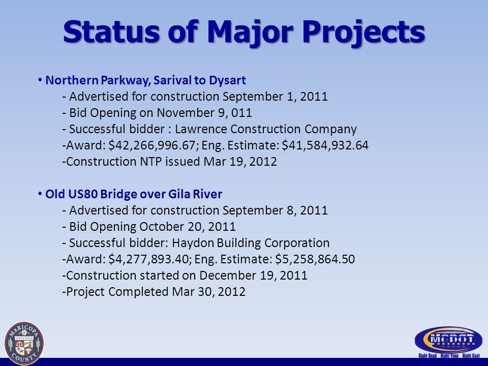 Status of Major Projects Northern Parkway, Sarival to Dysart - Advertised for construction September 1, 2011 - Bid Opening on November 9, 011 - Successful bidder : Lawrence Construction Company -Award: $42,266,996.67; Eng.