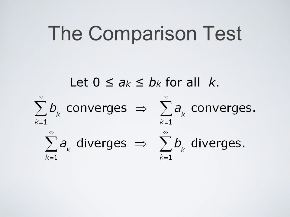 The Comparison Test Let 0 a k b k for all k.