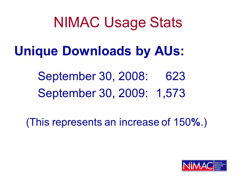 NIMAC Usage Stats Unique Downloads by AUs: September 30, 2008: 623 September 30, 2009:1,573 (This represents an increase of 150%.)
