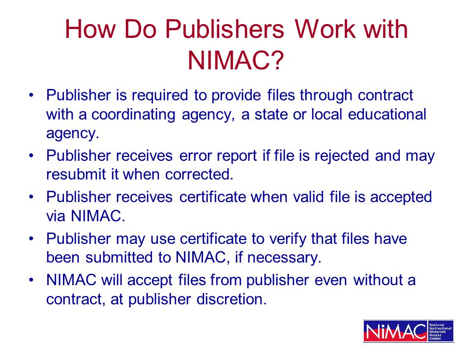 How Do Publishers Work with NIMAC.
