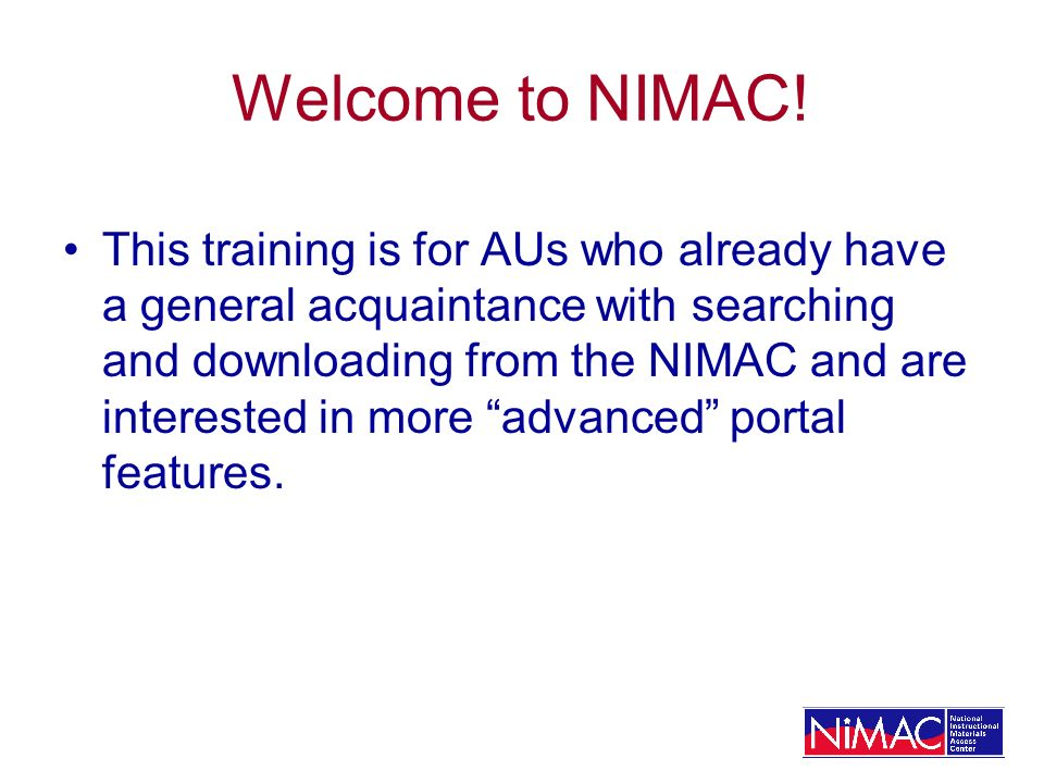 Welcome to NIMAC.