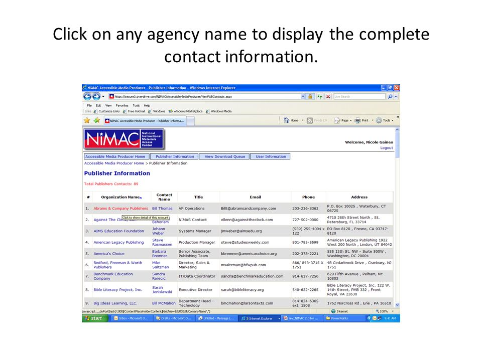 Click on any agency name to display the complete contact information.