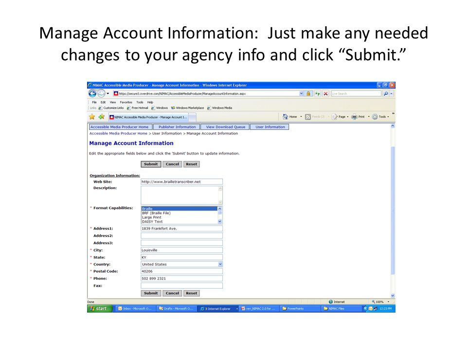 Manage Account Information: Just make any needed changes to your agency info and click Submit.