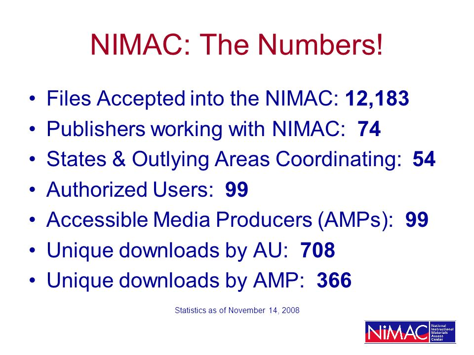 NIMAC: The Numbers.