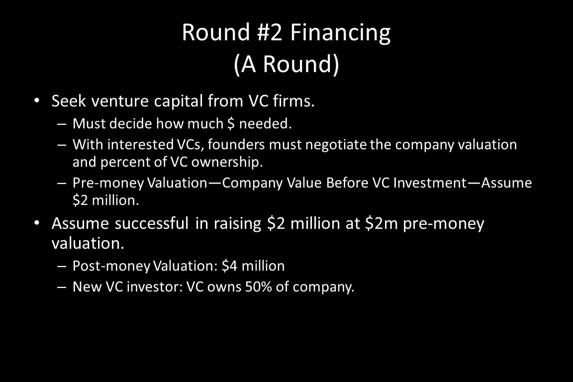 Round #2 Financing (A Round) Seek venture capital from VC firms.