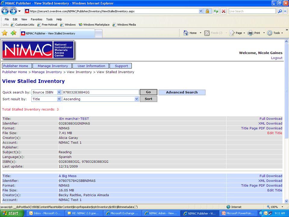 NIMAC 2 0 Publisher Portal: Managing Inventory - ppt download