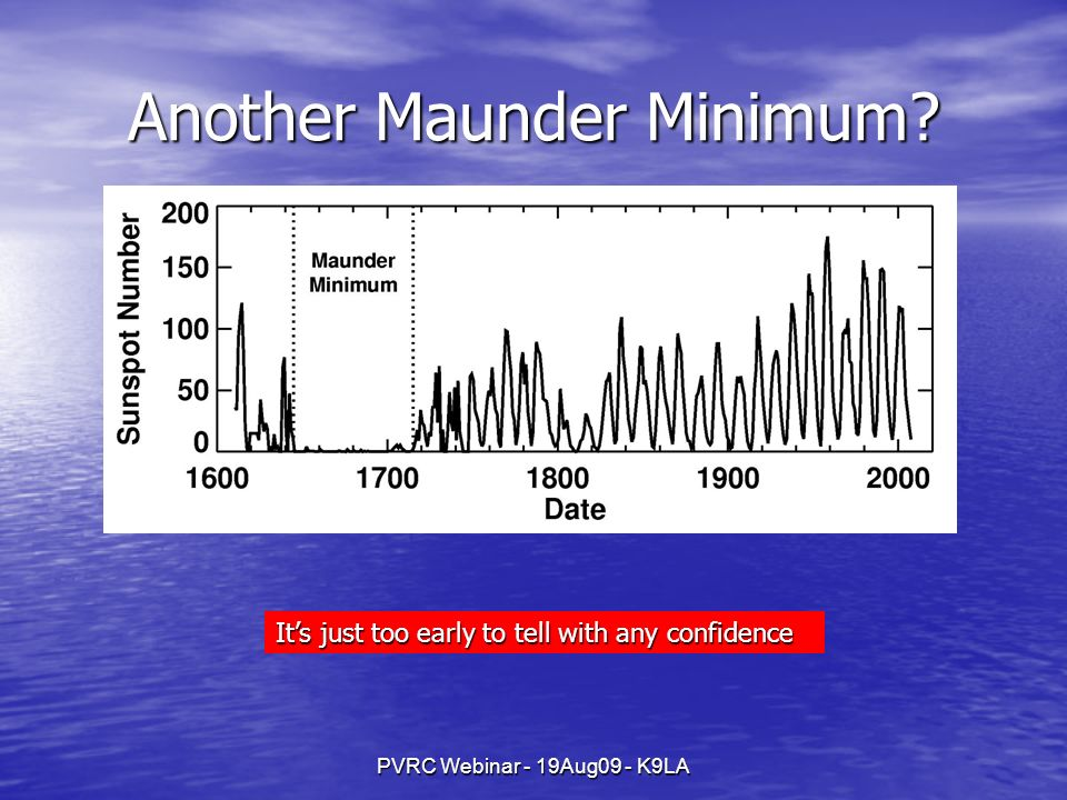 PVRC Webinar - 19Aug09 - K9LA Another Maunder Minimum.