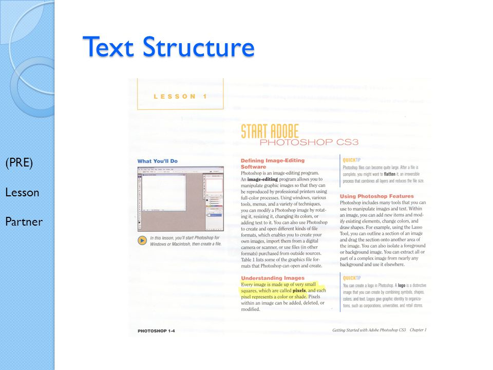 Text Structure (PRE) Lesson Partner