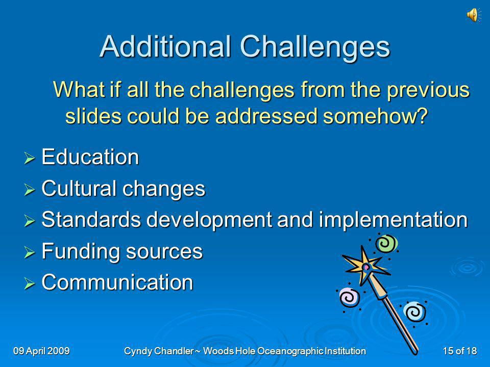 09 April 2009Cyndy Chandler ~ Woods Hole Oceanographic Institution15 of 18 Additional Challenges What if all the whining from the previous slides could be addressed somehow.