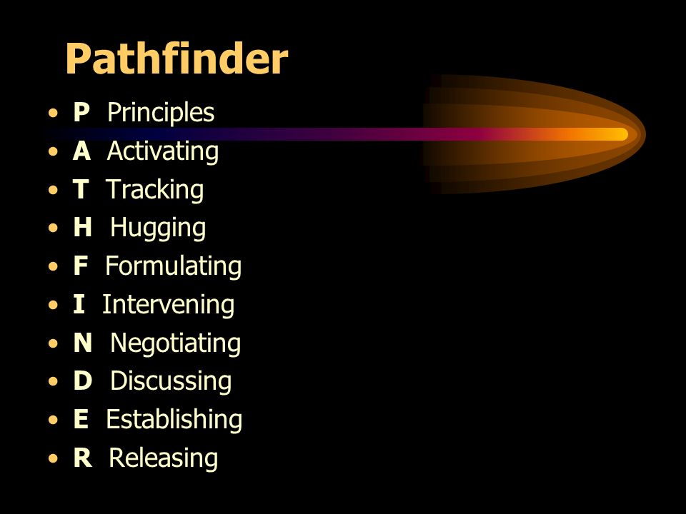 Pathfinder P Principles A Activating T Tracking H Hugging F Formulating I Intervening N Negotiating D Discussing E Establishing R Releasing