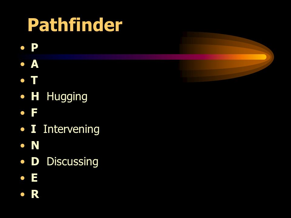 Pathfinder P A T H Hugging F I Intervening N D Discussing E R