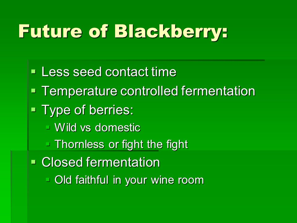 Future of Blackberry: Less seed contact time Less seed contact time Temperature controlled fermentation Temperature controlled fermentation Type of berries: Type of berries: Wild vs domestic Wild vs domestic Thornless or fight the fight Thornless or fight the fight Closed fermentation Closed fermentation Old faithful in your wine room Old faithful in your wine room