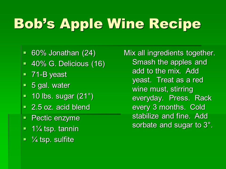 Bobs Apple Wine Recipe 60% Jonathan (24) 60% Jonathan (24) 40% G.