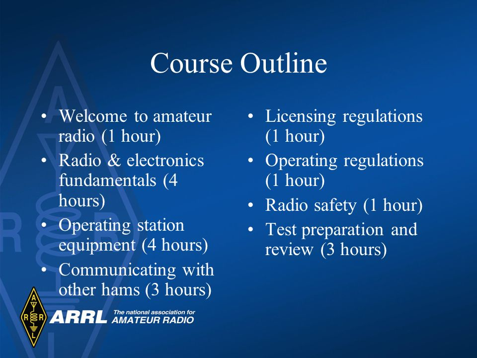 Course Outline Welcome to amateur radio (1 hour) Radio & electronics fundamentals (4 hours) Operating station equipment (4 hours) Communicating with other hams (3 hours) Licensing regulations (1 hour) Operating regulations (1 hour) Radio safety (1 hour) Test preparation and review (3 hours)
