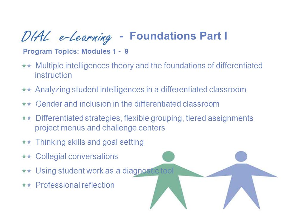 Multiple intelligences theory and the foundations of differentiated instruction Analyzing student intelligences in a differentiated classroom Gender and inclusion in the differentiated classroom Differentiated strategies, flexible grouping, tiered assignments project menus and challenge centers Thinking skills and goal setting Collegial conversations Using student work as a diagnostic tool Professional reflection Program Topics: Modules Foundations Part I