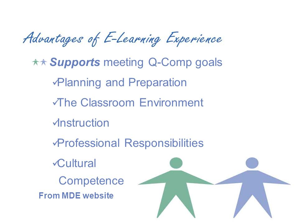 Supports meeting Q-Comp goals Planning and Preparation The Classroom Environment Instruction Professional Responsibilities Cultural Competence