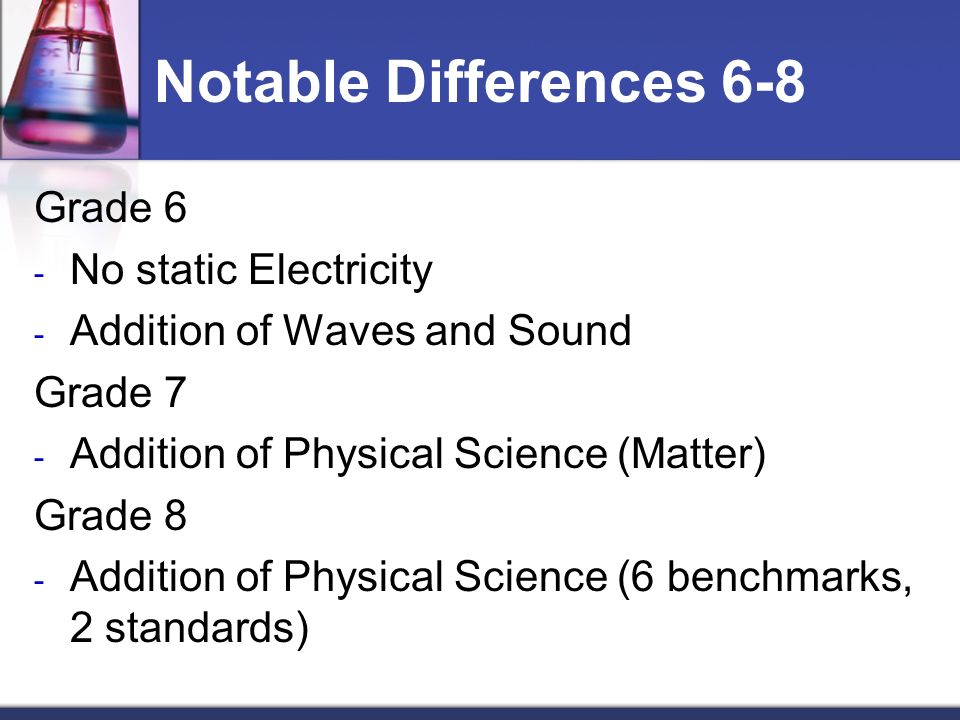 Notable Differences 6-8 Grade 6 - No static Electricity - Addition of Waves and Sound Grade 7 - Addition of Physical Science (Matter) Grade 8 - Addition of Physical Science (6 benchmarks, 2 standards)