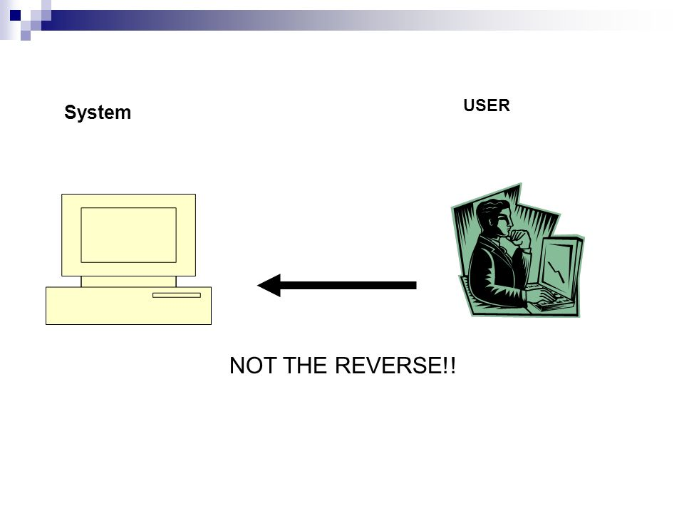 USER System NOT THE REVERSE!!