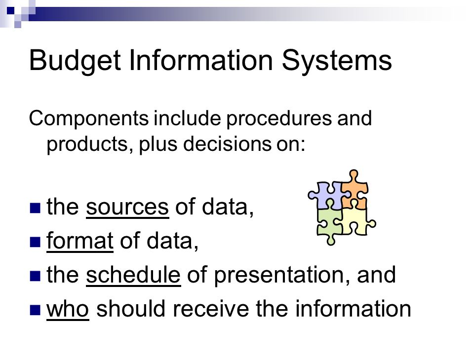 Budget Information Systems Components include procedures and products, plus decisions on: the sources of data, format of data, the schedule of presentation, and who should receive the information