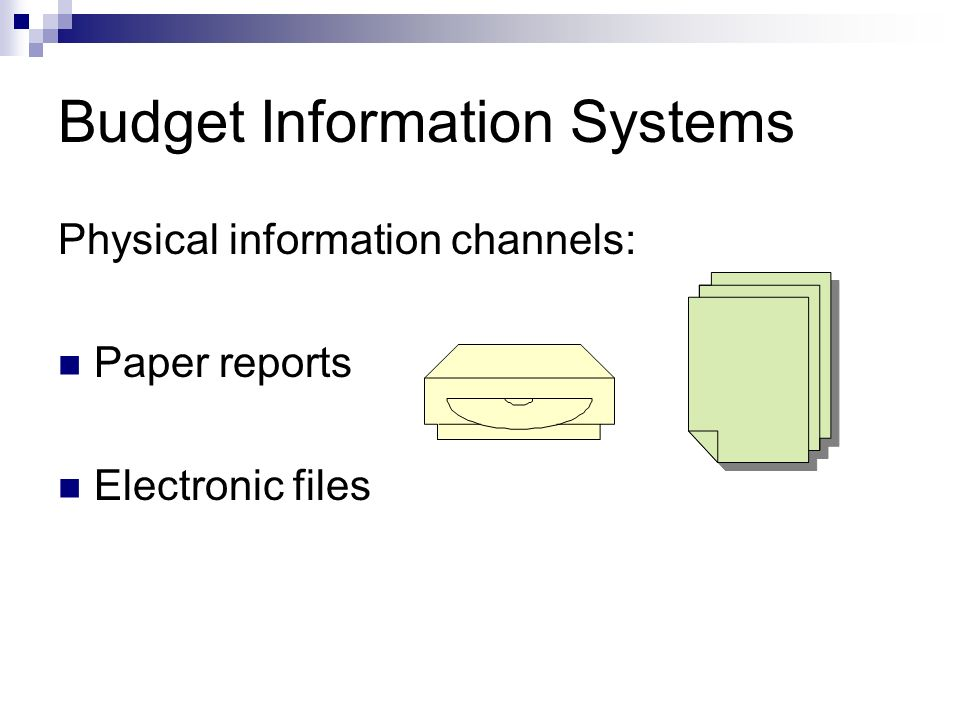 Budget Information Systems Physical information channels: Paper reports Electronic files