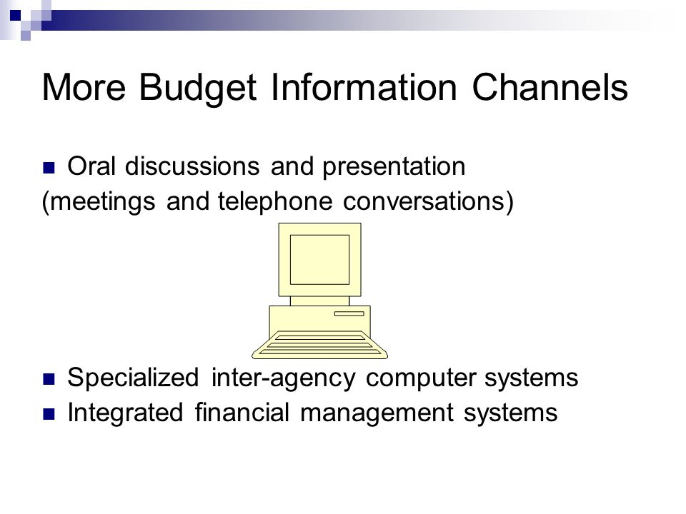 More Budget Information Channels Oral discussions and presentation (meetings and telephone conversations) Specialized inter-agency computer systems Integrated financial management systems