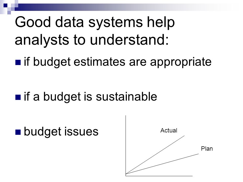 Good data systems help analysts to understand: if budget estimates are appropriate if a budget is sustainable budget issues Plan Actual