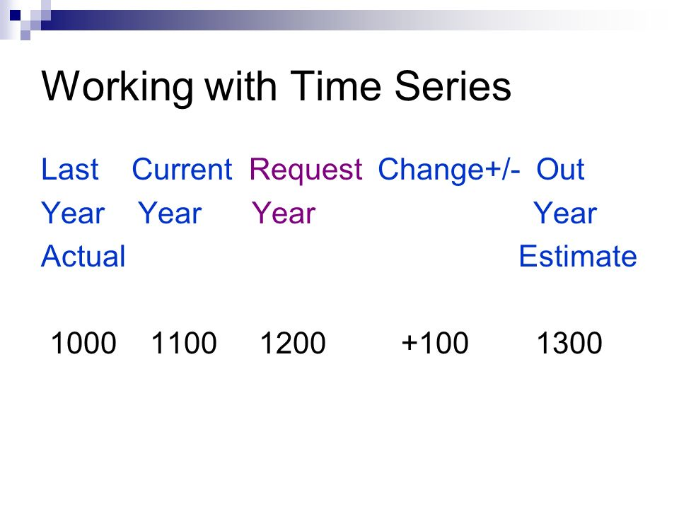 Working with Time Series Last Current Request Change+/- Out Year Year Actual Estimate 1000 1100 1200 +100 1300
