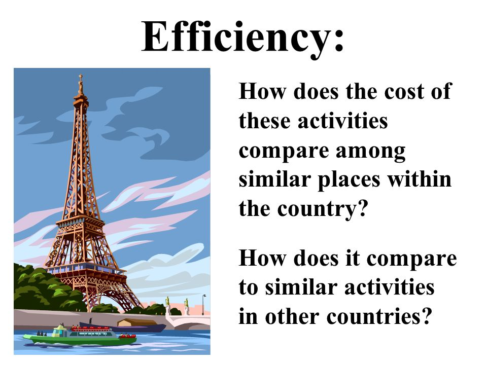 Efficiency: How does the cost of these activities compare among similar places within the country.