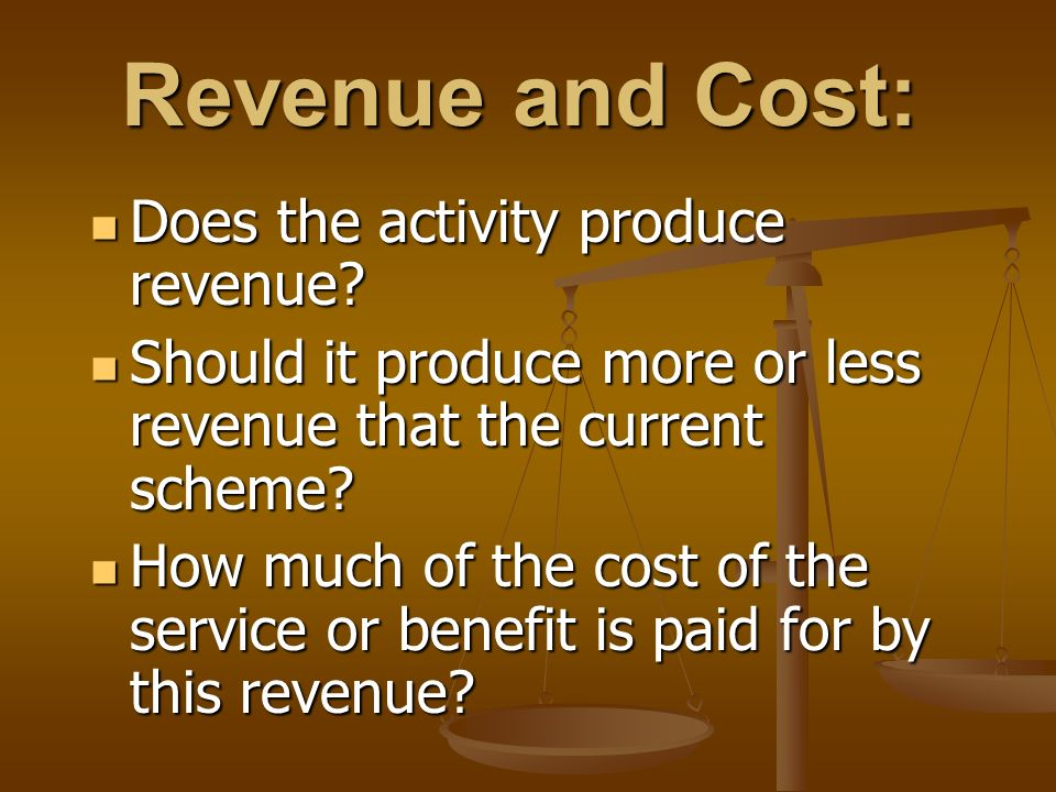 Revenue and Cost: Does the activity produce revenue.
