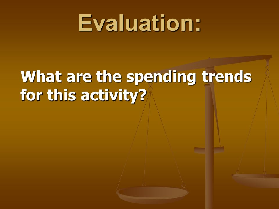 Evaluation: What are the spending trends for this activity