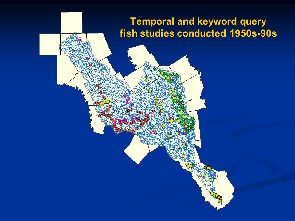 Temporal and keyword query fish studies conducted 1950s-90s