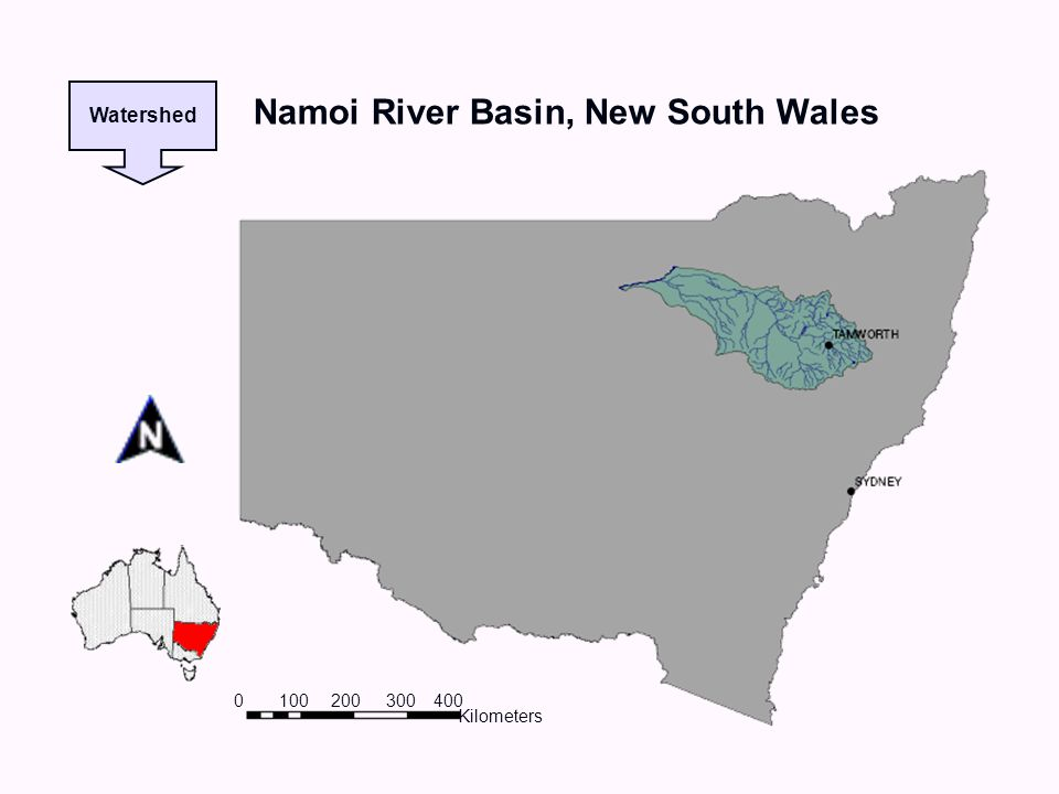 Kilometers 0100 200 300400 Watershed Namoi River Basin, New South Wales