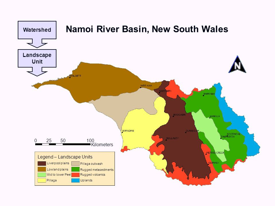 Watershed Landscape Unit Namoi River Basin, New South Wales Kilometers 0 100 50 25 Legend – Landscape Units Rugged metasediments Rugged volcanics Uplands Pillaga outwash Pillaga Mid to lower Peel Lowland plains Liverpool plains