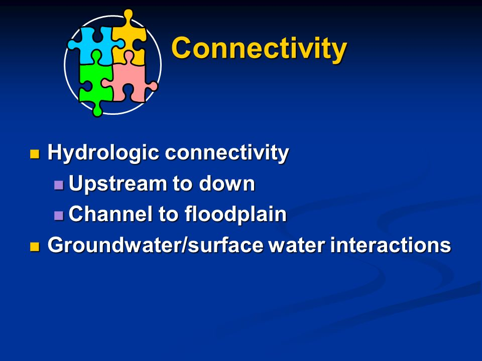 Connectivity Hydrologic connectivity Hydrologic connectivity Upstream to down Upstream to down Channel to floodplain Channel to floodplain Groundwater/surface water interactions Groundwater/surface water interactions