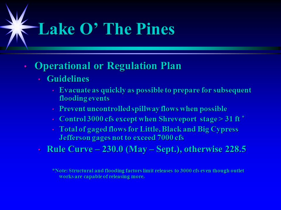Lake O The Pines Operational or Regulation Plan Operational or Regulation Plan Guidelines Guidelines Evacuate as quickly as possible to prepare for subsequent flooding events Evacuate as quickly as possible to prepare for subsequent flooding events Prevent uncontrolled spillway flows when possible Prevent uncontrolled spillway flows when possible Control 3000 cfs except when Shreveport stage > 31 ft * Control 3000 cfs except when Shreveport stage > 31 ft * Total of gaged flows for Little, Black and Big Cypress Jefferson gages not to exceed 7000 cfs Total of gaged flows for Little, Black and Big Cypress Jefferson gages not to exceed 7000 cfs Rule Curve – 230.0 (May – Sept.), otherwise 228.5 Rule Curve – 230.0 (May – Sept.), otherwise 228.5 *Note: Structural and flooding factors limit releases to 3000 cfs even though outlet works are capable of releasing more.